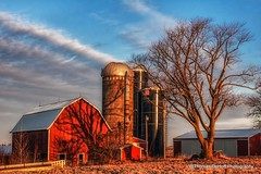 Classical Red Iowa Barn (Thomas DeHoff) Tags: morning light red barn early sony iowa a700