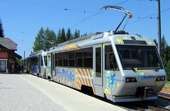 Chemins de fer électriques Veveysans - Railcar 72 and Trailer at Les Pléiades