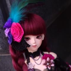 Blue Moon Dalia (almyki) Tags: girl ball hair asian doll slim wine blossom outdoor body jasmine 14 gothic mini redhead fairy lolita tiny bjd luts abjd joint msd bluefairy makoeyes