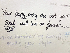 Nice handwriting doesn't make you right (quinn.anya) Tags: handwriting bathroom graffiti berkeley ucberkeley nicehandwriting
