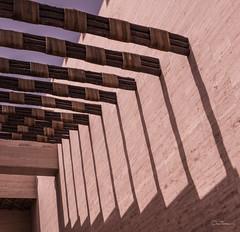 (orwa_farran) Tags: city nyc blue shadow sky blackandwhite white abstract art colors field lines stairs studio landscape la artist outdoor geometry stadium horizon line depth doha qatar katara