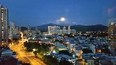 Night (c22717a) Tags: city sky moon town scenery bluesky outsidethewindow township lightanddark moonnight beautifulnight goodweather fukuchi getdrunk hongkongsmokies