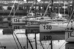 TransAt Yachts 30th April 2016 #18 (JDurston2009) Tags: blackandwhite bw reflection sailing yacht plymouth barbican devon 130 hdr 134 sailingboat suttonharbour transat transatbakerly