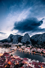 Nightfall (hermez) Tags: old sky mountains clouds reflections river coast europe mediterranean cityscape dusk croatia citylights fortress adriatic nightfall dalmatia mirabella cetina omi canoneos5dmk2 canonef16354lisusm cetinagorge