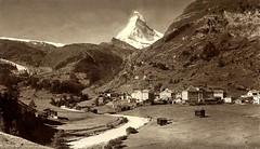 Zermatt with Matterhorn (CardCollector & HobbyPhotographer) Tags: albumenprint swiss zermatt matterhorn realphoto vintagephoto sepiatone