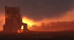 Fire In the Sky (isvibilsky) Tags: ruins canyon dramaticsky vue nomansland 3dnaturalenvironment