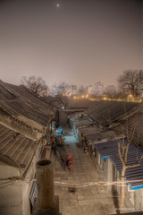 Hutong Nights (@Alebi) Tags: china old city trees sky moon night canon lights alley rooftops beijing hutong hdr halfmoon chinanight canonef2470f28 canon5dmarkii