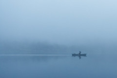 The Boatman (mark_mullen) Tags: uk england mist misty fog rural landscape dawn countryside scenery wake quiet grasmere lakedistrict foggy earlymorning eerie serene solitary tranquil boatman rower rowingboat canon1740f4 canon1dsmkii markmullenphotography