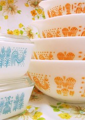 Turquoise and Orange Butterprint (AquaOwl) Tags: orange vintage turquoise cinderella pyrex butterprint refrigeratordish fridgies