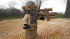 New Desert Soldier (The Brick Guy) Tags: outside lego tan wip custom grenade visor minifigure brickarms amazingarmory coreburner newdesertsoldier