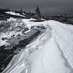Ved Brennbekken (b&w ver.) (Krogen) Tags: bw nature norway landscape norge blackwhite natur norwegen april noruega scandinavia krogen landskap noorwegen noreg skandinavia svarthvitt oppland synnfjellet svhv nordreland silverefexpro olympusep2