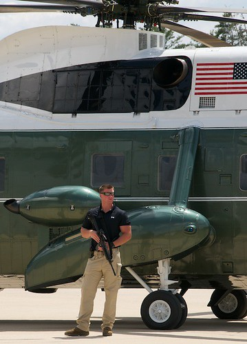 Guarding the Presidential Helicopter