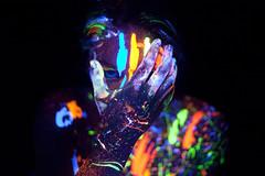 (Jennifer Crowder) Tags: blue color magazine model paint neon makeup powder blacklight psychedelic splatter