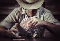 Poker Face (Kingstoncreations.com) Tags: old table cards cowboy texas chips poker western guns shooting em hold shootout
