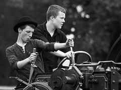 Focused (Ber123) Tags: ireland people blackandwhite bw mono nikon driving candid rally engine steam focused steamrally stradbally nikond60 colaois