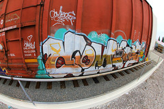 COMBOS (KNOWLEDGE IS KING_) Tags: railroad color art car club yard train bench graffiti paint panel steel painted stock tracks rail railway fisheye socal boxcar railing piece burner bomb railfan freight rolling fill hovercraft combos kik benched