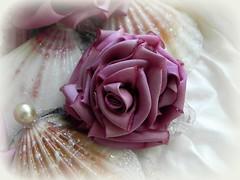 silk ribbon rose (AllThingsPretty...) Tags: roses silk pinkroses silkroses fabricroses