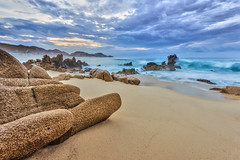 Los Cabos cloudy sunrise (enfi) Tags: ocean california sunset sea beach rock mexico sand san waves pacific cloudy tide jose playa foam ripples baja pacifico loscabos mardecortez cabossanlucas cotez