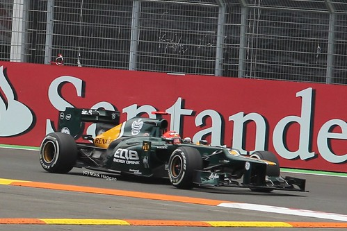 Heikki Kovalainen in his Caterham F1 car at the 2012 European Grand Prix in Valencia