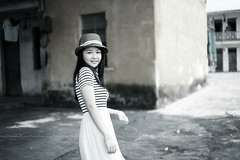 12072200 (ojang jerry) Tags: trees summer portrait sunlight girl beautiful beauty hat asian happy eos 50mm blackwhite pretty day sweet chinese young longhair sigma sunny skirt lovely joyful youngadult lov  5d2