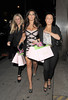 Jessica Wright enjoys a night out at Aura nightclub with two friends. London, England
