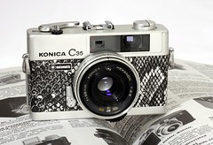 KOnica C35 Automatic Black and White Snake (Milly's Cameras) Tags: white black classic leather snake cameras automatic konica custom c35