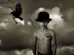The Key To His Heart (room17) Tags: blackandwhite art hat digital photomanipulation key heart photomontage soulscapes altrafotgrafia