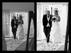 Aisle Entrance (FlickrJono) Tags: wedding blackandwhite photoshop curves crop clone levels recolor
