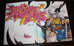 what's a king to a GOD? (noverNYC) Tags: new pink streetart black art colors yellow pen comics graffiti book king god elc letters tags graff dope thor marvel markers gwb icky copic graffitiart nover ddin novernyc