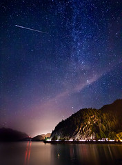 Perseid Meteor Shower (Alexis Birkill) Tags: water night vancouver clouds reflections stars trails astronomy squamish meteor startrails milkyway seatoskyhighway porteaucove shootingstar perseid