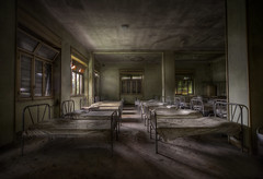 dormitory decay (andre govia.) Tags: urban never abandoned buildings hospital children photo bed shadows shot photos beds decay dorm low best andre creepy explore stop horror childrens ward dust exploration ue closeddown loight govia