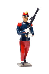 French Soldier With Marching Bassoon (Curtis Gregory Perry) Tags: blue red musician music usa macro century french toy soldier nikon uniform unitedstates antique united flash instrument marching northamerica states 60mm lead speedlight 19th strobe bassoon d300 sb910
