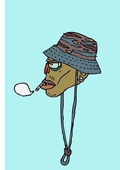 smoking self wearing fisherman hat (cous1 makb1) Tags: portrait hat illustration self fisherman smoke cartoon cigar smoking camo camouflage illustrator goldteeth