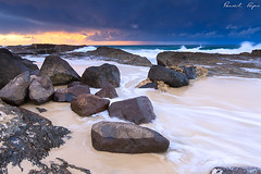 snapper rocks at sunset (Pawel Papis Photography) Tags: ocean sunset sea cloud seascape water rock twilight sand wave australia queensland coolangatta snapperrocks