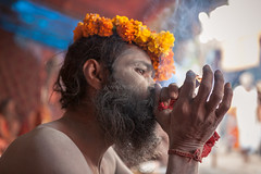 Smoke, Haridwar (Marji Lang) Tags: travel flowers portrait people india man colors festival colorful hand head indian smoke documentary tent garland smoking drugs shit yogi fumeur smoker hindu hinduism baba cannabis snan chillum bharat ganga sadhu inde holyman charas mela giri fumer haridwar hindouisme travelphotography documentaire rsine kumbhmela akhara drogue chilum uttarakhand royalbath chilom nagababa shilom junaakhara sadhou canon5dmii ascete mahakumbhmela marjilang