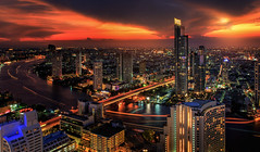 River in Bangkok city (anekphoto) Tags: city bridge blue light sky cloud moon holiday fish reflection building eye tower water skyline architecture modern night speed skyscraper river relax landscape thailand hotel boat town office twilight construction highway asia downtown cityscape view traffic state wind bangkok space capital transport illumination landmark center business transportation thai area phuket pattaya