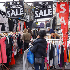 French Connection Sale (McTumshie) Tags: england london fashion shopping forsale market unitedkingdom sale stall clothes dresses shoreditch bricklane shoppers frenchconnection londonist bricklanesundaymarket 3april2016