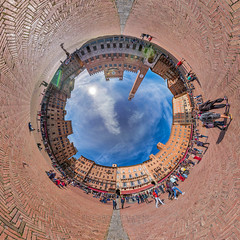 Piazza del Campo (Riccardo Malorni - The Light Hunter) Tags: city sky people italy panorama abstract tower art clouds circle landscape funny italia cityscape torre artistic outdoor 360 180 tuscany planet siena sight spherical torredelmangia littleplanet sferico