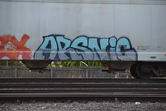 ARSNIC (TheGraffitiHunters) Tags: street blue white black art train graffiti colorful paint gray tracks spray hopper freight benched benching arsnic