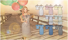 {amiable}Frilled Off-shoulder Stripe Top&Dress@ the Shiny Shabby(50%OFF SALE). (nodoka Vella) Tags: summer dress mesh sale stripe sl event secondlife 50off amiable tss nodoka {amiable} nodokavella shinyshabby