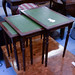 Leather and mahogany nest of tables