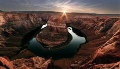 Horse Shoe Bend (Matthijs Noome) Tags: sunset arizona river landscape colorado view page coloradoriver sunstar horseshoebend 14mm samyang