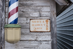 Miracle of American Museum (flippers) Tags: old usa sign museum america vintage weird us montana unitedstates retro barbershop american barbers oldfashioned polson shaveandahaircut2bits miracleofamericanmuseum