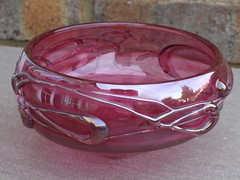 Vintage Signed Art Glass Bowl Cranberry With Iridescent Overlay (beetle2001cybergreen) Tags: art glass vintage with bowl overlay cranberry iridescent signed