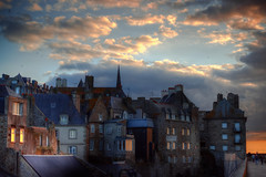 Saint-Malo Rooftops (Missy Jussy) Tags: trip travel windows light sunset sky people sunlight holiday france clouds canon buildings reflections lights evening town brittany europe moody shadows rooftops atmosphere saintmalo northernfrance cannon600d