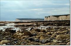 Looking towards Seaford Head ((Sue Lockhart Images)) Tags: blue sea sky white green rocks cliffs seashore rockpools