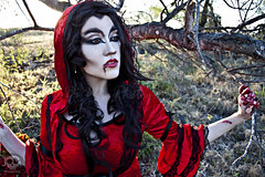 Through the Woods 7663 (JoDi War) Tags: trees sunset red wild nature grass fairytale dark lost blood woods wolf dress boots lace gothic victorian velvet hood storybook rhyme grandmothershouse nurseryrhyme throughthewoods storytale