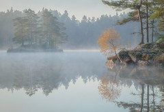 Fall (andreassofus) Tags: autumn trees mist lake color fall nature water misty fog canon reflections landscape sweden foggy
