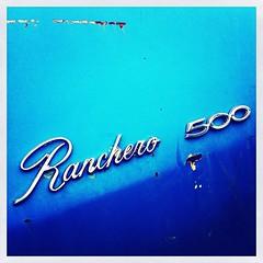 Ranchero 500 (tjdewey) Tags: blue cars ford minnesota closeup square rust chrome junkyard salvage classiccars iphone