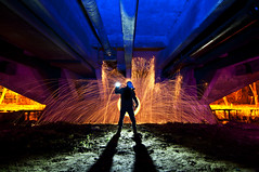 Transfixion (Jelle Schuurmans) Tags: bridge light color wool netherlands silhouette backlight night painting concrete person nikon long exposure glow fotografie mask nacht spin under gas led tokina sparks denbosch gels 116 jelle shertogenbosch nachtfotografie p7 x21 fotograaf d90 lenser transfixion schuurmans